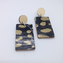 Black & gold splotch rectangle earrings