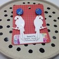 Acrylic white parrots with blue/glitter top  earrings
