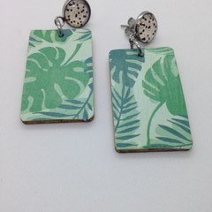 Monstera print on rectangle wood earrings