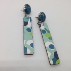 Abstract green/black/white stick earrings