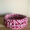 Crochet basket | MULTIPLE SIZES | RASPBERRY & WHITE