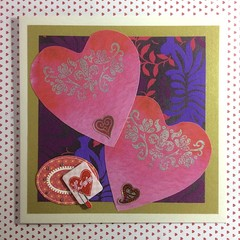 Two Hearts 'Kiss' on Ivory Pearlised Valentine Card