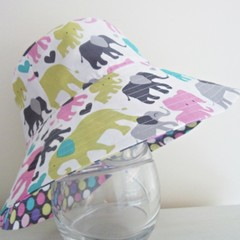 Girls wide brim summer hat in elephant fabric