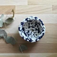 Crochet basket | essential oils | home decor | storage basket | NAVY WHITE