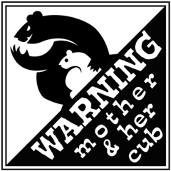 Baby Sticker - Warning Mother and her Cub Bumper sticker