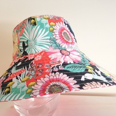 Girls wide brim summer hat in wonderland fabric