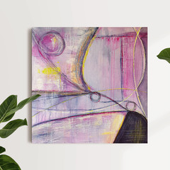 Pink and Grey Abstract Painting on Canvas - What a Web we Weave
