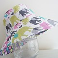 Girls wide brim summer hat in elephant fabric