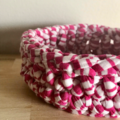 Crochet basket | MULTIPLE SIZES | RASPBERRY & WHITE