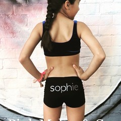 Shorts Personalised for Girls, Black, Gymnastics, Dance wear