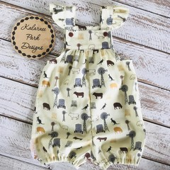 "Girls Overalls Made to Order "" A Farmers Fighting Spirit"" Fabric"