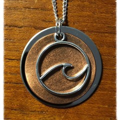 Copper and Silver Wave Necklace.