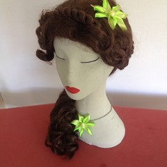 """Lime-Gold Carmen""  Hair Clip & Necklace"