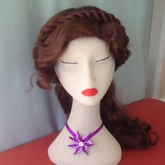 """Purple Spotted Carmen"" Hair Clip & Necklace"