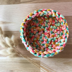 Crochet basket | essential oils | home decor | storage basket | RAINBOW STRIPE