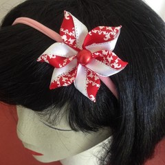 """Red n White Carmen""  Soft Headband"