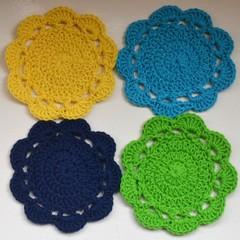 Set of 4 Crochet Cotton Coasters