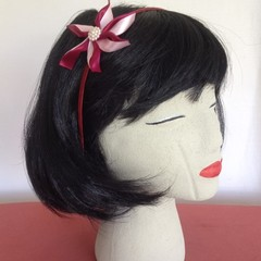 """Maroon Pretty Carmen"" Wire Headband"