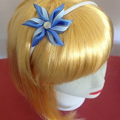 """Blue Striped Carmen"" Wire Headband"