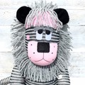 'Luca' the Sock Lion - grey pink and black - *READY TO POST*