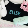 Personalised top for girls, Black, Custom with name on the back