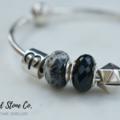 Natural Black Onyx Gemstone European Bead Bracelet Charm
