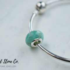 Natural Amazonite Gemstone European Bead Bracelet Charm