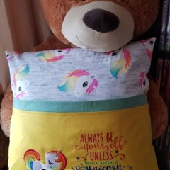 """Sleeping Unicorn"" Reading/Pocket Cushion  (cover only)"