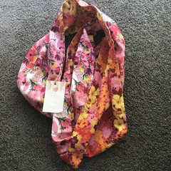 Swans and Flowers Infinity Scarf