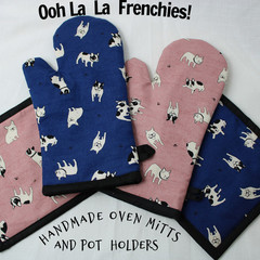 French Bulldog Oven Mitts and Square Pot Holders Gift