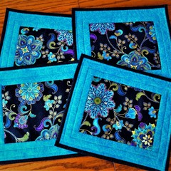 Quilted fabric place mats, set of 4, black, turquoise, purple, blue, modern