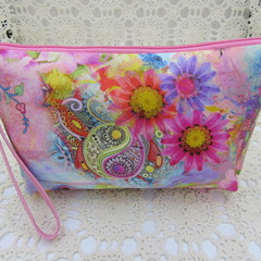 Ladies Wristlet Clutch- Pink Floral - Day Wear, Race Day, Garden Party