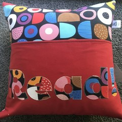 Red Geometric Book Pillow