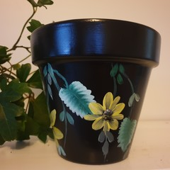 Black with yellow flowers