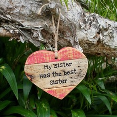 Sister Love Heart Reclaimed Timber Sign