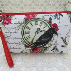 Ladies Wristlet Clutch- Black Crow - Day Wear, Race Day, Garden Party
