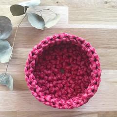 Crochet basket | essential oils | home decor | storage basket | RASPBERRY STRIPE