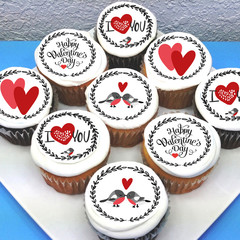 Valentines Love Edible Icing Cupcake Toppers - PRE-CUT Sheet of 15 - EI235C