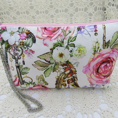 Ladies Wristlet Clutch- Boho Rose - Day Wear, Race Day, Garden Party