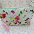 Ladies Wristlet Clutch- Mint Floral - Day Wear, Race Day, Garden Party