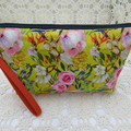 Ladies Wristlet Clutch- Mustard Floral - Day Wear, Race Day, Garden Party