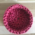 MEDIUM | crochet basket | essential oils | storage basket | RASPBERRY STRIPE