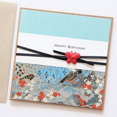 Birthday card oriental blues