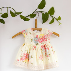 Size 0-Upcycled Yellow Floral Lace Baby Dress