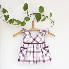 Size 0-Upcycled Flutter Sleeve Pockets Baby Dress