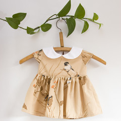 Size 0-Upcycled Vintage PeterPan Collar Baby Dress