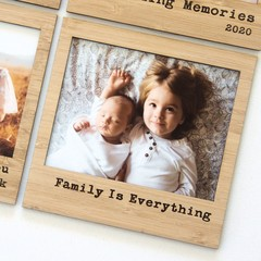 Family is Everything magnetic photo frame bamboo