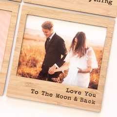 Love You To The Moon & Back magnetic photo frame bamboo