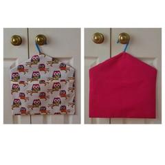 Fabric Peg Bag - Fuchsia Owls
