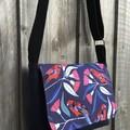 Upcycled Denim Cross Body Bag - Crimson Rosellas